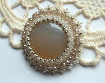 Agate Brooch, Bead embroidered Brooch, Beige Agate Brooch, Beadwork Brooch , Handmade Jewelry