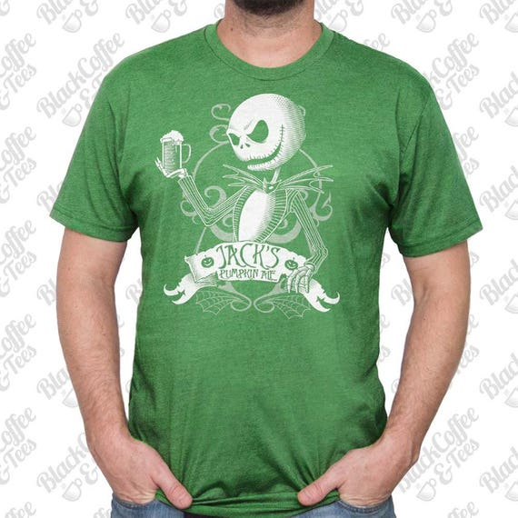 St Patricks Day Shirt - Jack Skellington Shirt - Nightmare Before Christmas T Shirt - Jack Skellington Printed on a Men's Green T Shirt