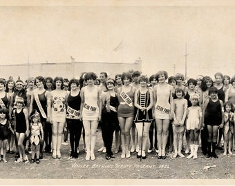 1926 Bathing Beauties Venice CA Vintage Panoramic Photograph