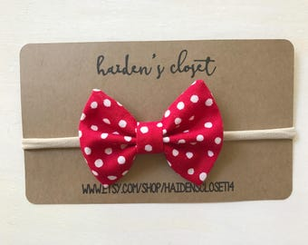Hair Bow - Spring- Summer - Fourth of July - Red Polka Dots - Free Shipping
