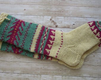 Wool Socks, Unique Wool Socks, Hand knit Socks, Women's Socks, Size 42 or US 9/10, Collectible Socks, Folk Socks, Christmas Gift