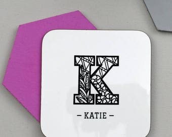 ON SALE Zentangle Initial Coaster - Personalised Coaster - Custom Gift  - Initial - Gift For Friend