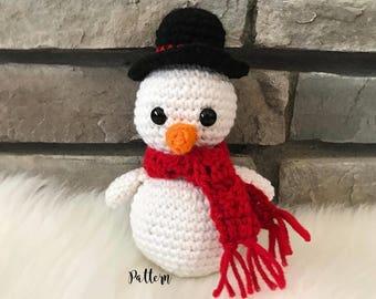 Crochet snowman, crochet snowman pattern, snowman toy, snowman stuffed animal, Winter crochet, christmas crochet pattern, beginner crochet