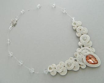 Wedding necklace, bridal necklace, bridal jewelry, wedding jewelry, ivory necklace, crystal necklace, embroidered necklace, bridal gift