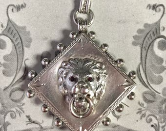 Original Antique Victorian Silver Lion Locket