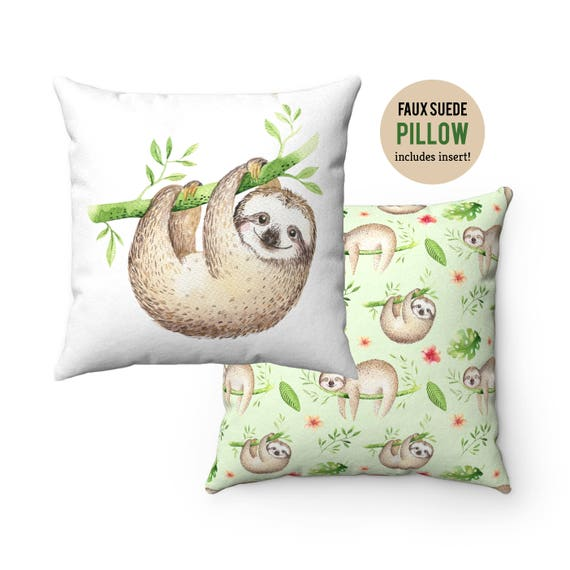 Pillow WITH INSERT - Cute Sloth Pillow with Filling - Faux Suede 14x14 Pillow, 16x16 Pillow, 18x18 Pillow, 20x20 Pillow