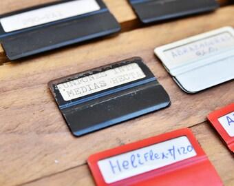 METAL FILE TAB - File Cabinet Clip Folder Peg Set of 30 Index Tab Organizer Divider Vintage Label Labelling Storage Retro Decor