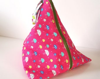 Cotton zip pyramid project bag - knitting, crochet, craft
