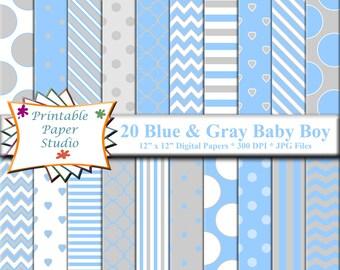 Blue, White & Gray Baby Boy Digital Paper Pack, Baby Digital Paper, Blue Digital Paper, Grey Digital Paper, Blue Scrapbook Paper 12x12