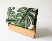 Monstera fold over clutch with washable paper. Rifle Paper Co. print, Clutch bag, Zipper pouch
