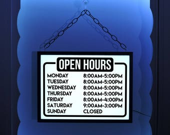 Business Hours, Business Hours Sign, Window Sign, Open Sign, Open Hours, Lighted Open Sign, Business Sign, Open Closed Sign