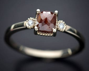 Natural Cushion Pink Rose Cut diamond Solitaire with 2 yellow diamonds ring 14kt white gold