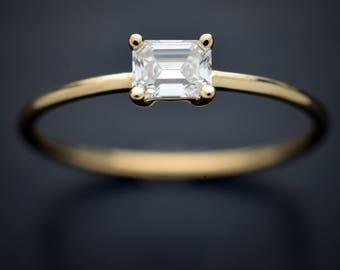 14Kt yellow, pink or white gold solitaire with a .50ct Moissanite emerald ring Forever One Colorless