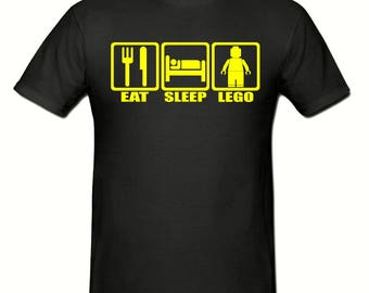 Eat sleep lego t shirt,men's t shirt sizes small- 2xl,men's lego t shirt