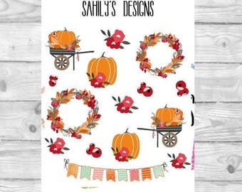 Pumpkin Patch Icons Stickers // Planner Stickers // Erin Condren Stickers // Pumpkin Stickers // The Happy Planner Stickers // Fall Stickers