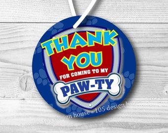 Paw Patrol Favor Tag Printable INSTANT DOWNLOAD - Paw Patrol Printable 2.5 inch Favor Tags - Favor Tag - Paw Patrol Party - Paw Patrol Tag