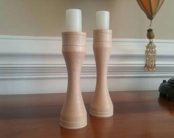 Hand Turned Maple Candlesticks (2)