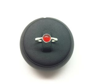 Ring in 925 sterling silver carnelian made entirely by hand