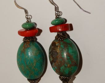 Sterling Silver Coral And Turquoise Dangling Earrings.