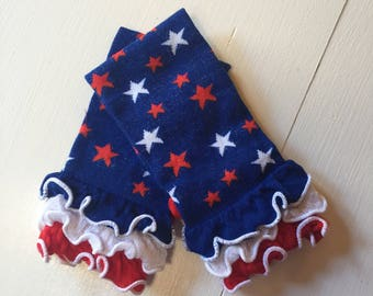 4th of July Leg warmers~ Red White and Blue Stars with red white and blue ruffles~ baby leg warmers~