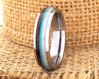 Tungsten Ring Tungsten Wedding Ring Band Deer Antler Ring Men Women Wedding Band Wood Turquoise Anniversary Dome 6mm Matching Ring Set New