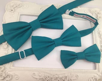 Set of 3 blue Turquoise man, child and hair bow