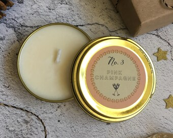Mini Candle - pink champage - scented candle - candle tin - small candle - christmas candle / wedding favour - soy wax - stocking filler