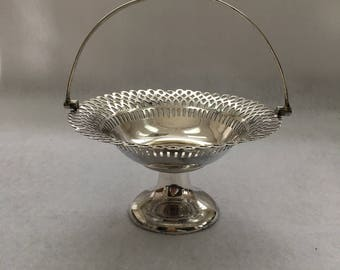 Vintage Silver Plate Footed Bride's Basket with Handle, Made in England, EPNS