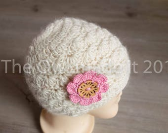 Newborn hat   Baby girl hat  Alpaca hat  Newborn prop  Baby hat   Crochet hat   Knitted hat  Baby shower gift  Ready to ship   UK seller