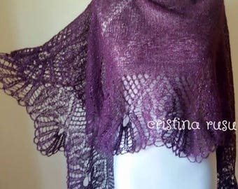 Plum ,Purple  hand knitted alpaca lace shawl ,mohair shawl, Wedding shawl ,Gift for her