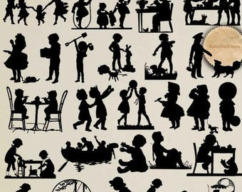 40% OFF SALE Vintage Silhouettes , Victorian Kids Silhouettes Clip art , Children Silhouettes , playing kids silhouette transparent png  Buy