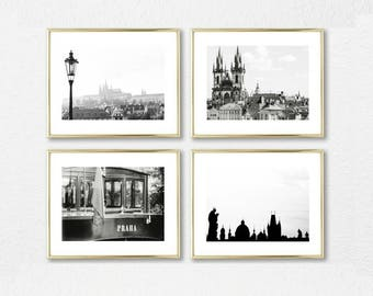 Wall Art Set of 4 // Travel Prints // Prague Gallery Wall Decor // Set of Photography // Large Wall Art // Europe Black and White