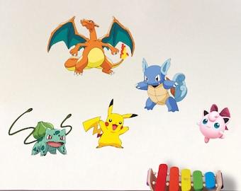 Pokemon Wall Decal Kit All Pokemon Characters Wallpaper Charizard Pokemon  Pikachu Bulbasaur Pokemon Jigglypuff Pokemon Ivysaur