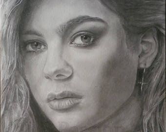 Louane portrait in Graphite pencils