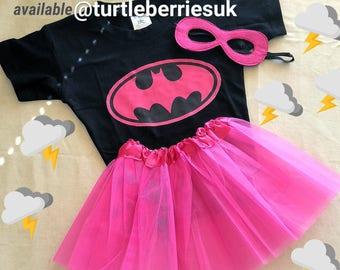 Superhero Girls Tutu Mask Supergirl Batgirl Spidergirl Wonderwoman