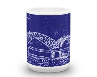 Memphis Mug, Mississippi River, Memphis Birdge, 15 oz coffee Mug