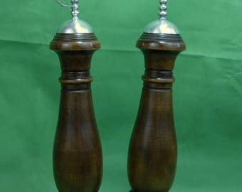 On Sale Vtg Woodcrest by Styson Wooden Salt Shaker and Pepper Mill Metal Tops Made in Japan