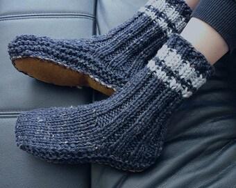 Cosy Dark Blue New Zealand Sheepskin and Wool Slipper Socks