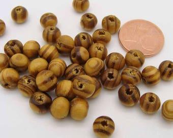 100 perles rondes 6mm BOIS strie marron / noir PB57 DIY création bijoux loisirs