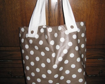 Brown tote bag in coated canvas tote bag with polka dots cotton and white