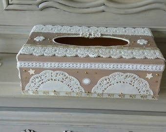 box has rectangular tissue wooden shabby chic