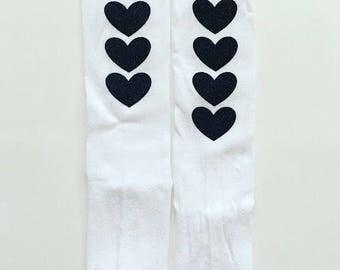 Black Glitter Heart White Nylon Knee High Baby Toddler Girls Socks  / Heart Socks / Knee High Socks