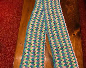 Crocheted Girls.Womans Winter Scarf Multi colored