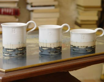 Stoneware Pottery Mug, Coffee Mug, Hand Painted Mug, Ocean Theme Mug, Boats Teacup, White and Blue Mug, Stoneware Mug, Ceramics and Pottery
