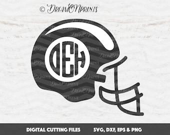 Helmet Monogram svg, Football Svg, Football Helmet Svg, Helmet SVG, Football Cut File, Football Monogram SVG, Silhouette SVG, Cricut SVDP294
