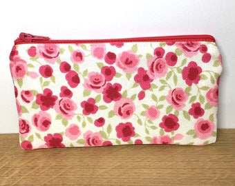 Pink floral zip purse, zip purse, small change purse, coin purse, gifts for her, pink flowers, clarke and clarke