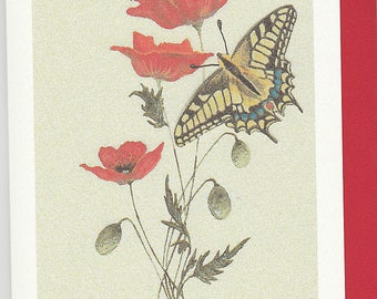 Swallowtail and poppy card. card with a Swallowtail butterfly. swallowtail butterfly card. british butterfly card. insect card. birthday