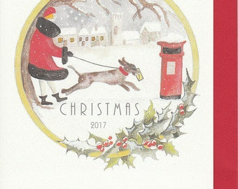 Art Deco Christmas card. 1920's card. Originally hand painted. German Pointer. Christmas card. Traditional Christmas card.