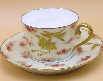 AK Limoges France Vintage Hand-Painted Porcelain Demitasse Cups & Saucers 1880s-90s