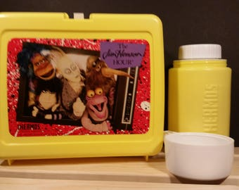 Vintage 1989 Yellow Jim Henson Hour Thermos Brand Lunchbox with Thermos